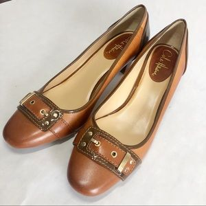 Cole Haan Heels Tan Brown Shoes Gold Tone